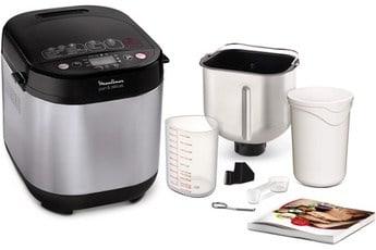 Machine à pain moulinex avec des accessoires et un livre de recette