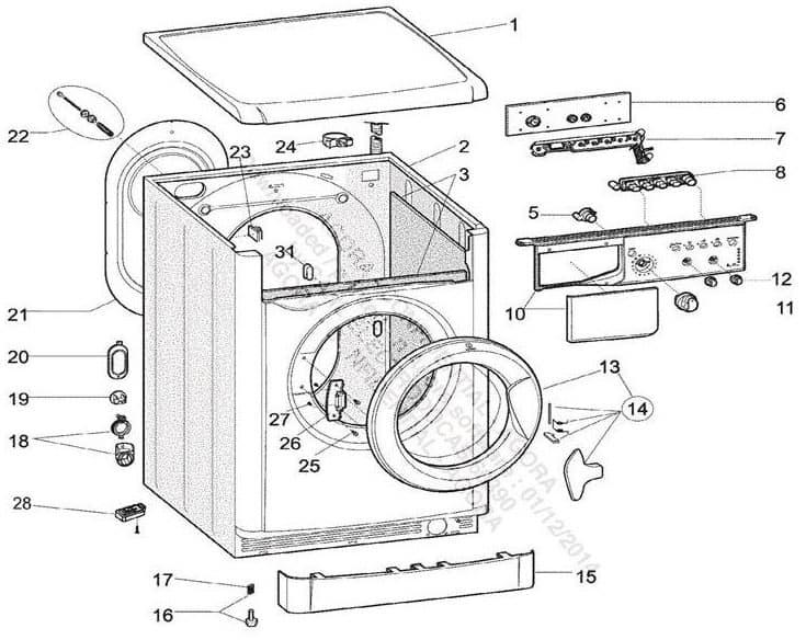 vue éclatée d'un lave-linge