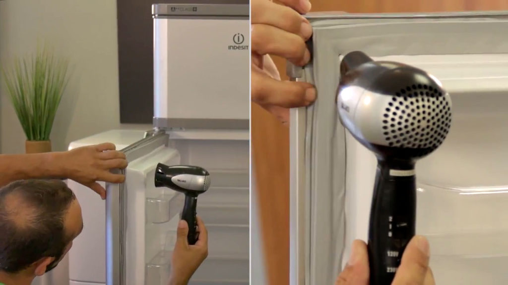 Utilisez un sèche-cheveux pour assouplir et détendre le joint de frigo