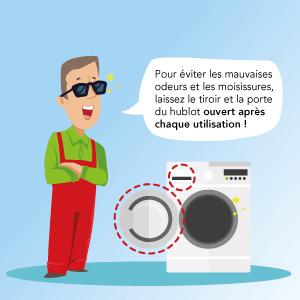 Aérez régulièrement votre lave-linge