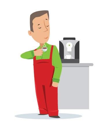 Fred et sa machine à café