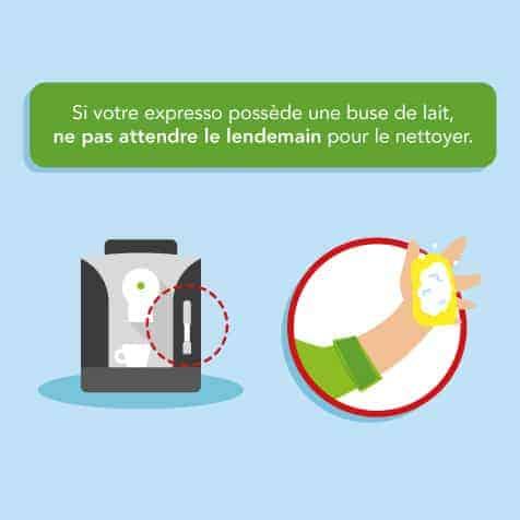 Nettoyer sans attendre après chaque utilisation la buse de lait d'une machine à expresso