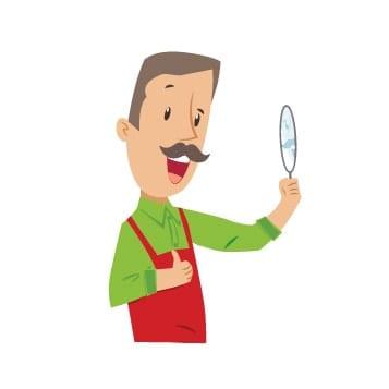 Fred regarde sa moustache dans le miroir