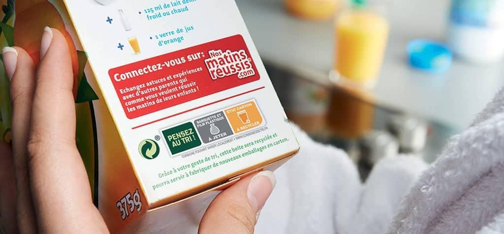 Indications de tri imprimées sur le packaging